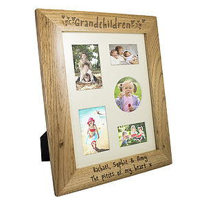 Personalised Oak Grandchildren Photo Frame - picture frames