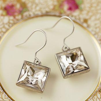 Cubic Gemstone Satin Silver Earrings - Crystal Silver Shade