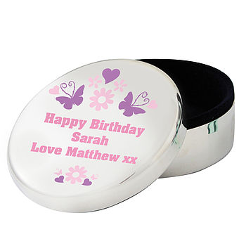Personalised Butterfly Trinket Jewellery Box