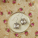 Cubic Gemstone Satin Silver Earrings - Crystal Silver Shade