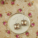 Cubic Gemstone Satin Silver Earrings - Crystal Golden Shadow