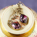 Two Star Drop Earring with Gemstone - Antique Crystal Pink