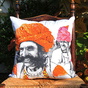 Men In Turbans Cushion Cover