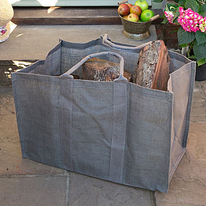 Extra Strong Jute Log Bag - fireplace accessories