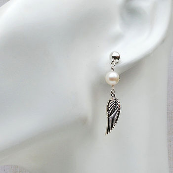 Silver Angel Wing And Pearl Earrings