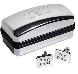 Personalised 'Top Dad' Cufflinks And Case