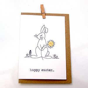 'Happy Easter' Bunny Button Box Card