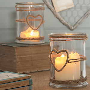 Glass Candle Holder With Rope Heart - outdoor decorations