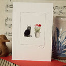 Black Cat with Tulips - Cat13