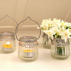 Hanging Glass Tea Light Holder - table decorations
