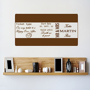 Personalised Ticket Wall Sticker