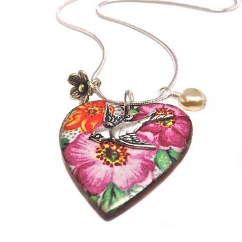 Ceramic Pink Heart And Swallow Pendant