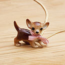 Porcelain Chihuahua Dog Necklace