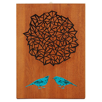 Handpainted And Laser Etched Finches Artwork