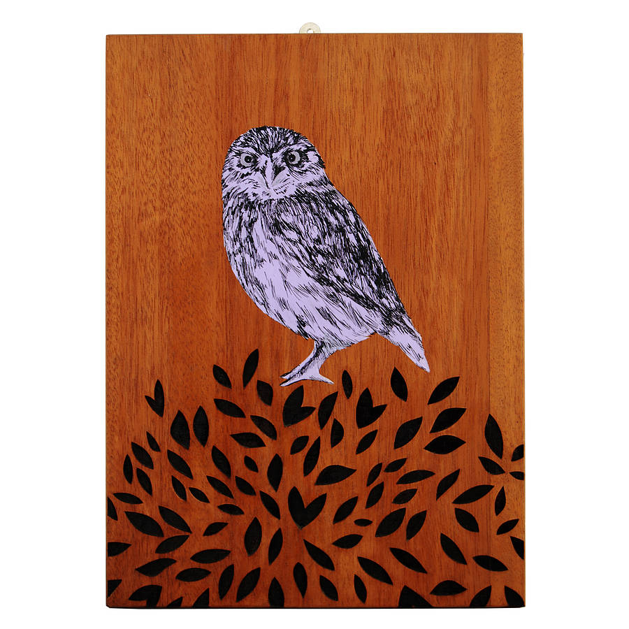 Handpainted And Laser Etched Owl Artwork By Katie Amp The