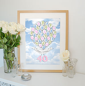 Personalised Fingerprint Balloons Print - children's pictures & paintings