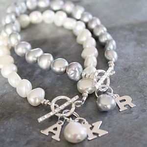 Silver Freshwater Pearl Initial Bracelet - gifts for teenage girls