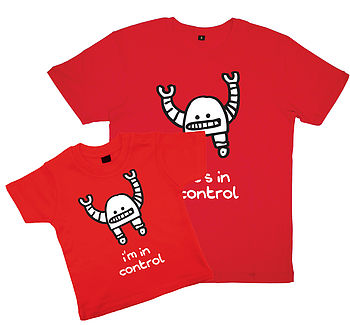 'In Control' Father And Childs T Shirt Set