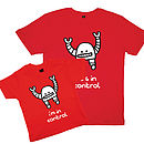 Father And Childs Red T Shirt Set