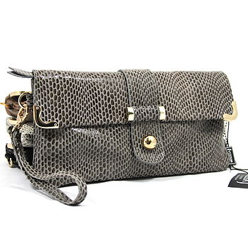 Leather Crocodile Pattern Clutch Bag