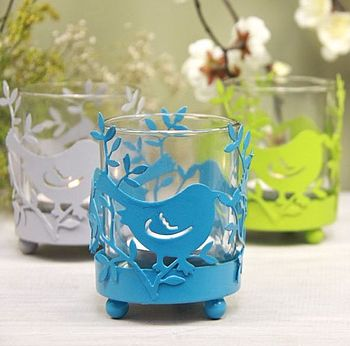 Metal Bird Tea light holder in Bright Blue
