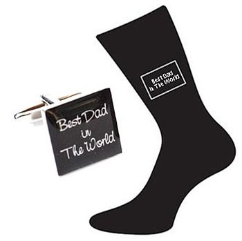 'Best Dad In The World' Cufflinks And Socks