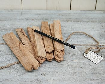 Set Of 10 Reclaimed Wood Garden Markers