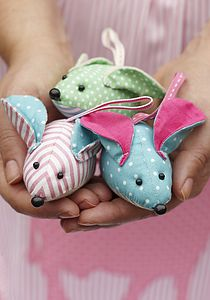 Vintage Fabric Mouse - hanging decorations