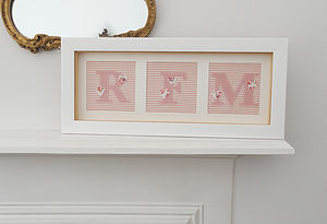 Girl's Framed Initial Applique Artwork - gifts for children