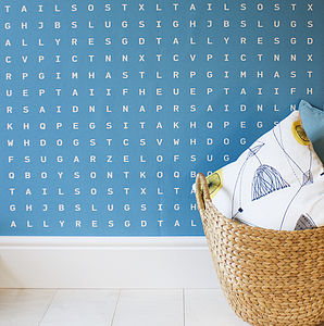 'Sugar And Slugs' Word Search Wallpaper Seawater - children's room accessories