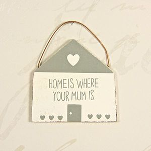 Wooden House Shaped Plaque - ribbon & wrap