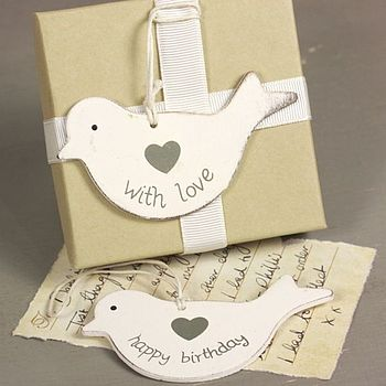 Wooden Dove Gift Tag