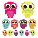 Patterned Owl Wall Stickers