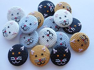 Cross Stitch Kitten Badge - women's jewellery