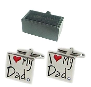 'I Love My Dad' Engraved Cufflinks