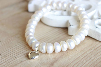 Heart Locket Pearl Bracelet