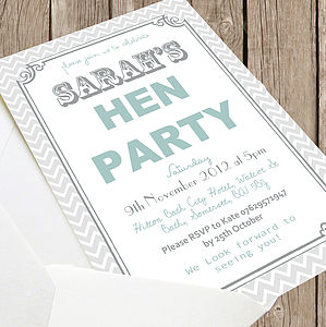 Personalised 'Hen Party' Invites - hen party gifts & styling