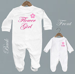 Personalised 'Flower Girl' Baby Romper - bridesmaid dresses