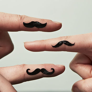 Finger Moustache Tattoos