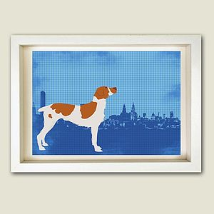 Brittany Spaniel Dog In Liverpool City Print - personalised