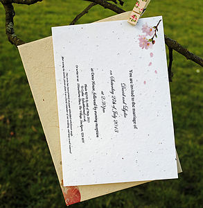 Personalised Plantable Paper Blossom Invite