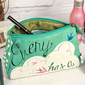'Every Cloud Has A Silver Lining' Make Up Bag