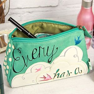'Every Cloud Has A Silver Lining' Make Up Bag - make-up & wash bags