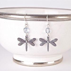 Vintage Dragonfly Earrings - earrings