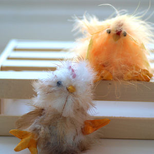 Set Of Six Feather Chicks - easter decorations