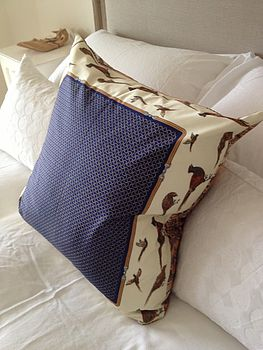 Vintage Scarf Pheasant Design Cushion