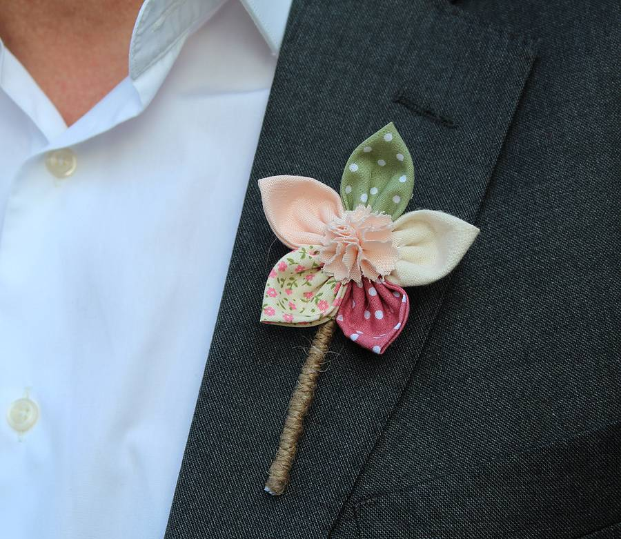Fabric Flower Buttonhole By 'by Alex'