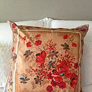 Vintage Scarf Poppies Design Cushion