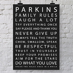 Personalised Family Rules Print Canvas - home