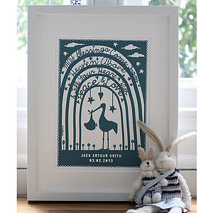 Personalised New Baby 'Papercut Style' Print - vibrant blues